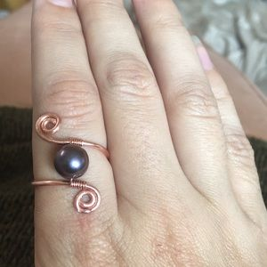 Jewelry - Black pearl copper wire wrapped ring